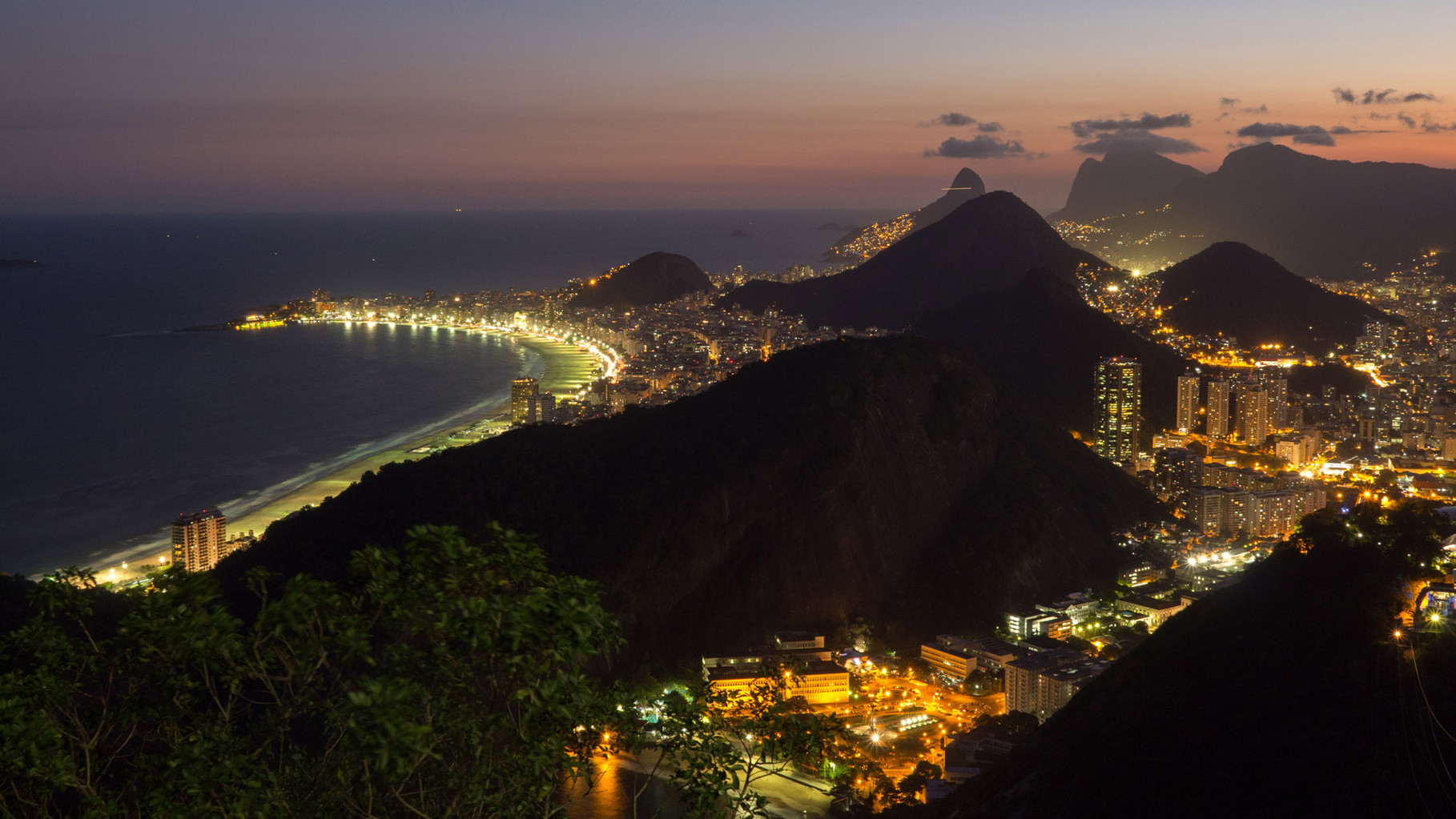 Copacabana by night, panoramic view from Sugarloaf