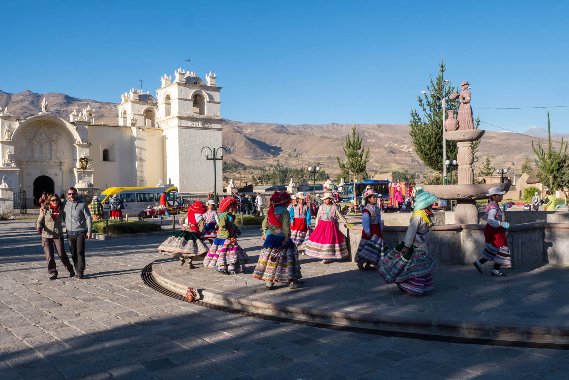 Tourist trap with traditional dancers, Colca canyon