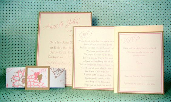 Components of a Banded style of invitation