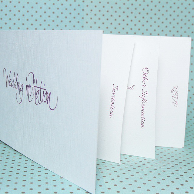 My Chequebook style invitations have pages of various sizes to make it easy for your guests to find what they're looking for