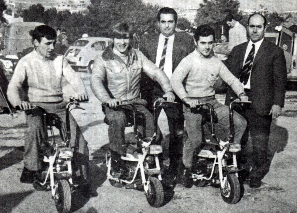 Ángel Nieto (Derbi), Santiago Herreros (OSSA) y Salvador Canellas (Bultaco)