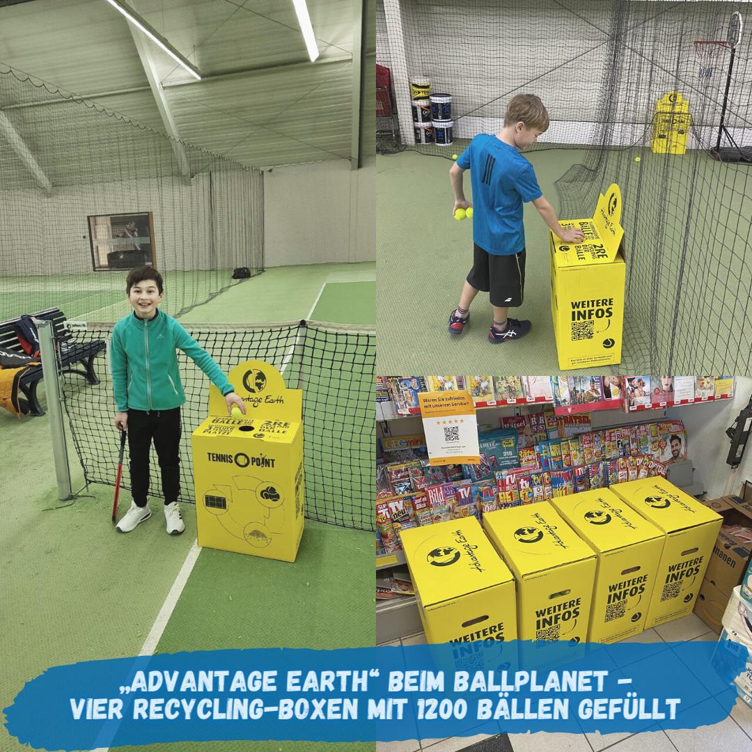 """""""Advantage Earth"""" beim Ballplanet - Vier Recycling-Boxen von Tennis-Point mit 1200 Bällen gefüllt!"""