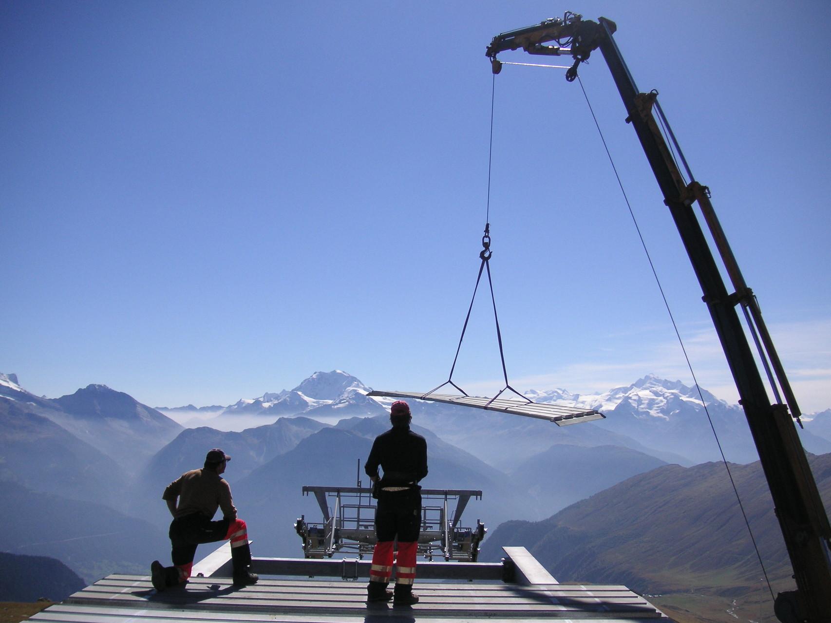 Montage Bergstation Seilbahn