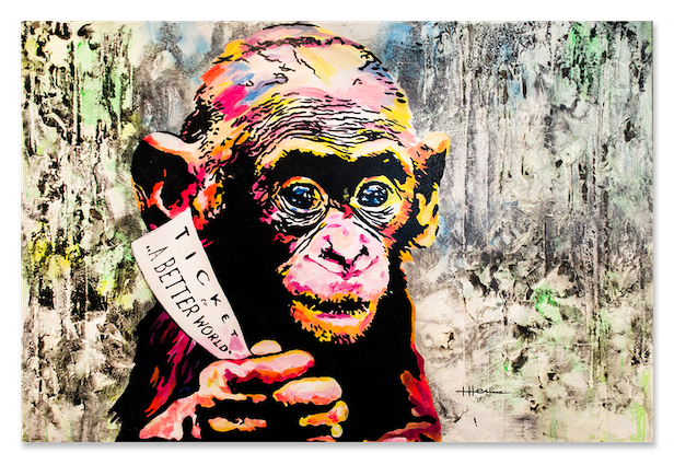 TICKET TO A BETTER WORLD, MONKEY, welcome to the Jungle, Tabea Henne, 2017, Unikat, Beton, Acryl und Lack, Leinwand