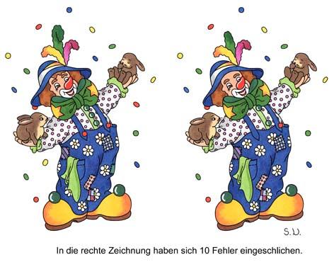 Fehlersuchbild Clown, Karneval, Fasching, Bilderrätsel