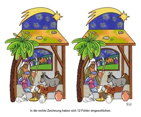 Weihnachtsrätsel, Fehlersuchbild, Krippe mit Heiligen Drei Königen, Bilderrätsel