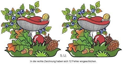 Fehlersuchbild, Pilz mit Blättern, Eicheln und Blaubeeren, Bilderrätsel