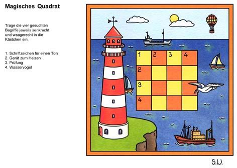 Magisches Quadrat mit Leuchtturm, Bilderrätsel
