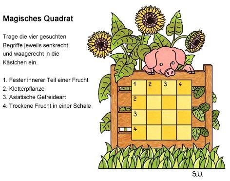 Magisches Quadrat mit einem Schwein und Sonnenblumen, Sommer, Bilderrätsel
