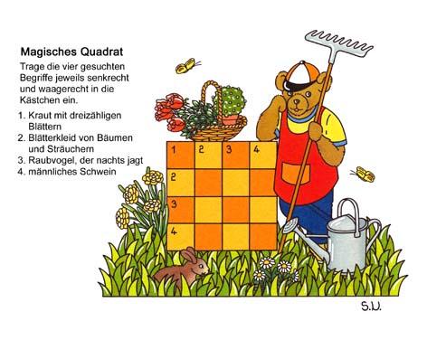 Magisches Quadrat, Teddy mit Blumen und Geräten, Bilderrätsel