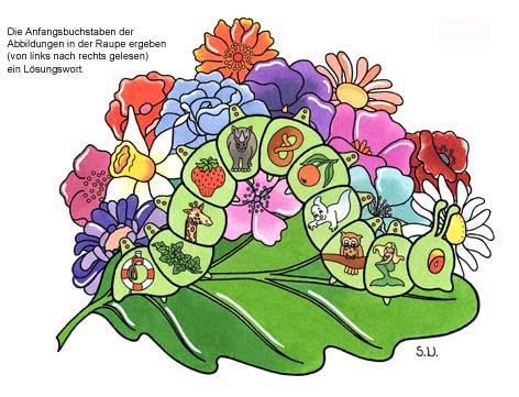 Worträtsel in einer Raupe mit großem Blatt und Blüten, Biderrätsel