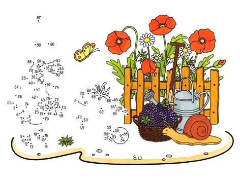 Malen nach Zahlen, Zwerg mit Schubkarre und Blumen, Bilderrätsel, Punkte verbinden