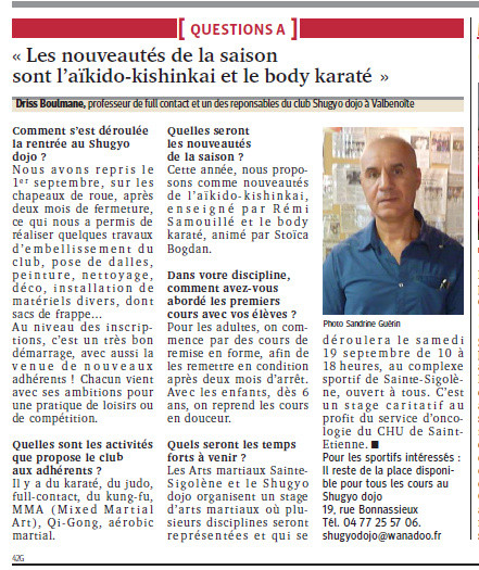 Article du Progrès - 15 Septembre 2015