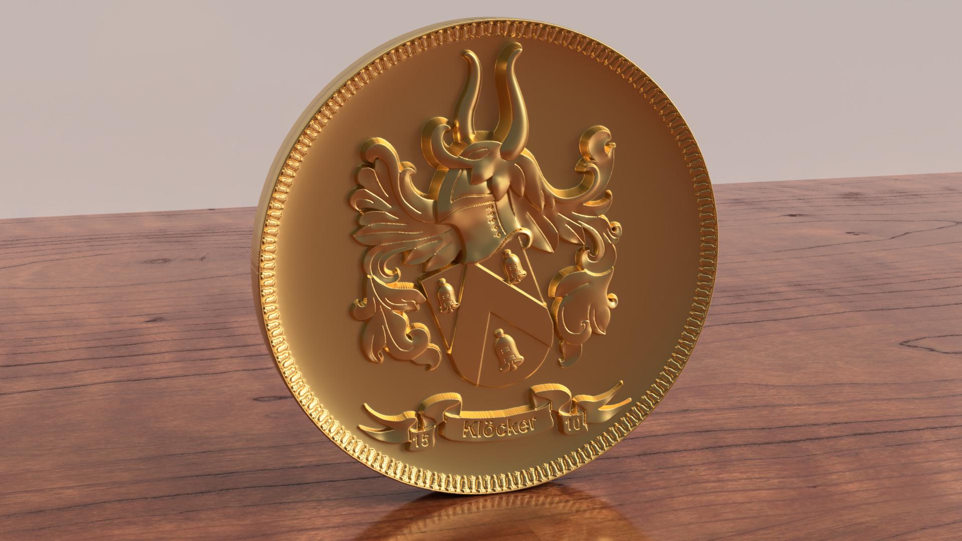Gerendertes 3D Bild einer stl Datei, von einem Wappen, Vorarbeit für das Fräsen in Bronze, als Metallwappen oder Holzwappen