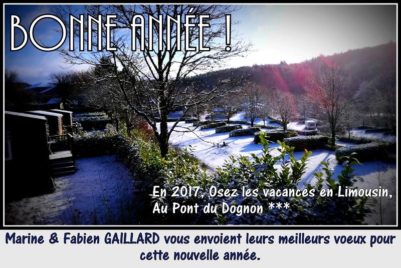 le camping Au Pont du Dognon sous un légers voile blanc ...