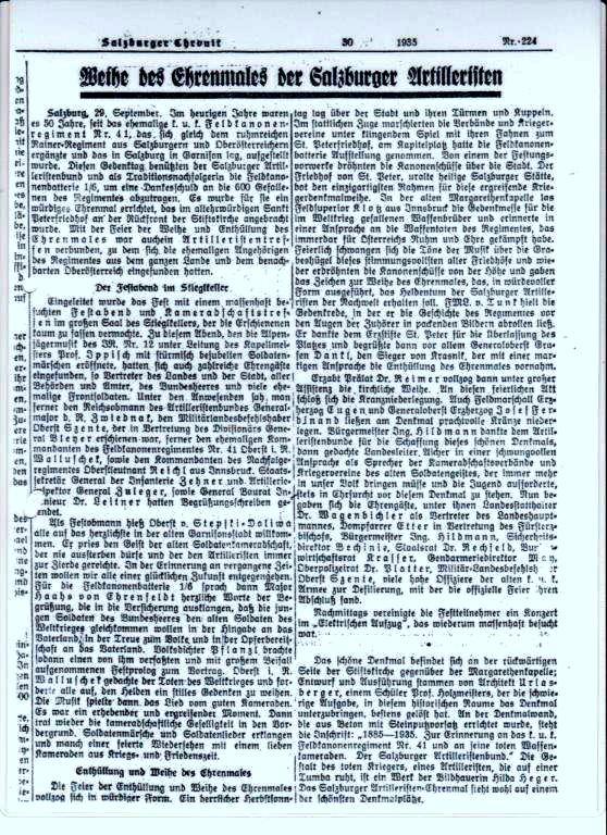 Ausschnitt aus der Salzburger Chronik v. 29. September 1935 zur Weihe des Ehrenmales der Salzburger Artilleristen