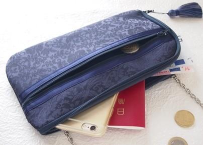 着物生地・綸子(りんず)のお財布ショルダーバッグ【ラージサイズ】