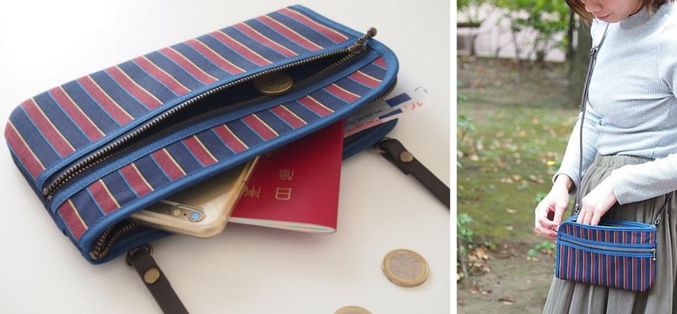 お財布ショルダー着用画像:大切なものをコンパクト斜めがけできます