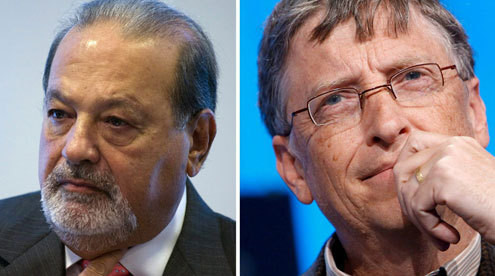 El mexicano Slim (i) desplaza a Bill Gates, quien estuvo al frente de la clasificación por más de 15 años. (EFE)