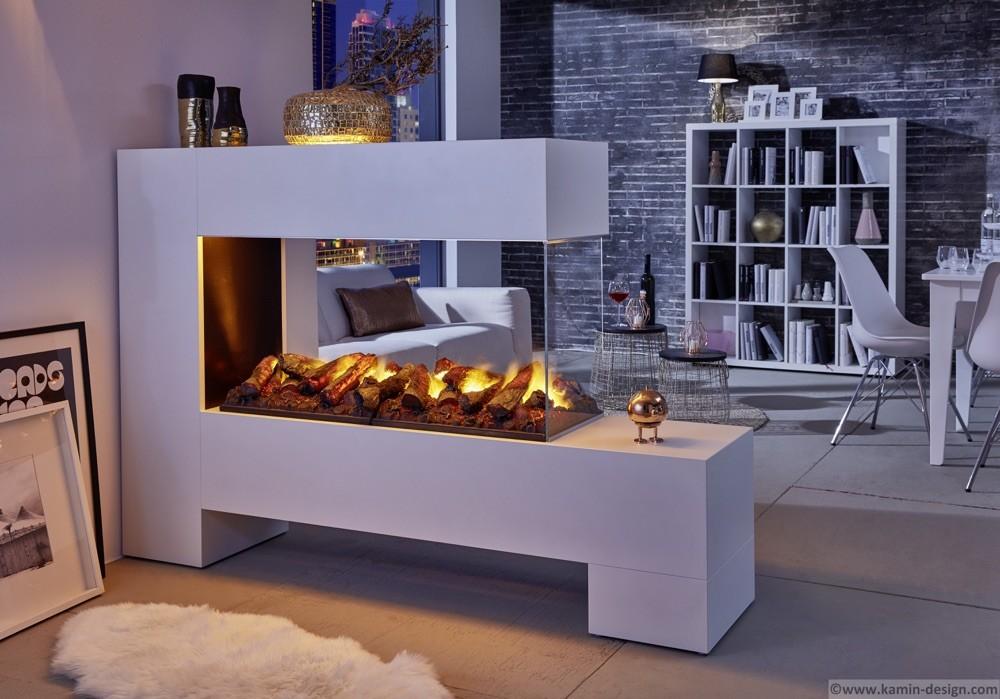 Raumteilerkamin mit 3D-Elektrofeuer