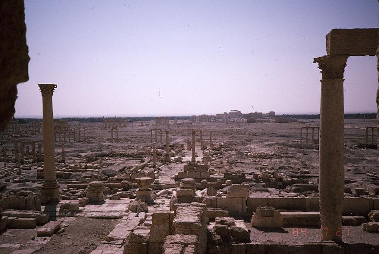 パルミラの列柱付き大通り遠景