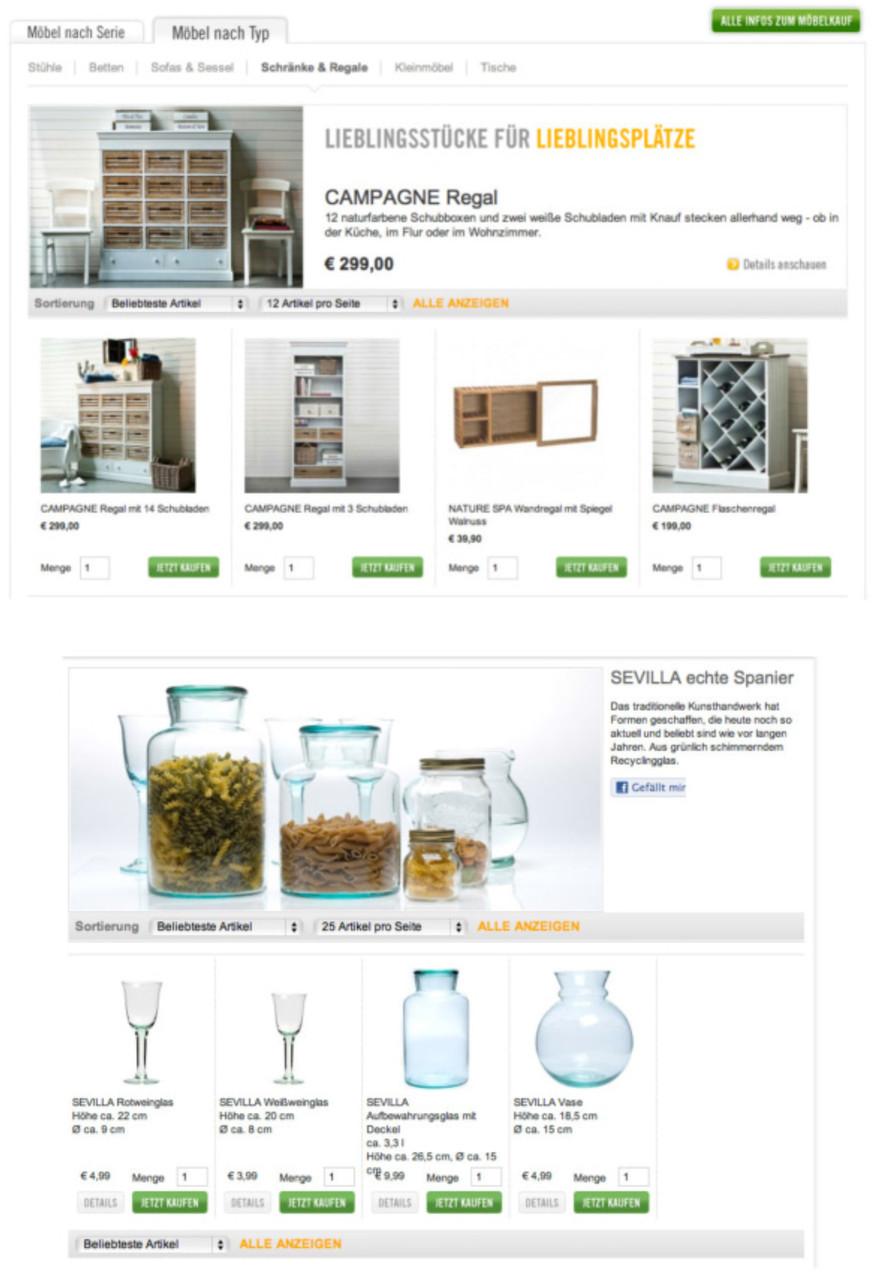 Kategorie-Seiten Onlineshop
