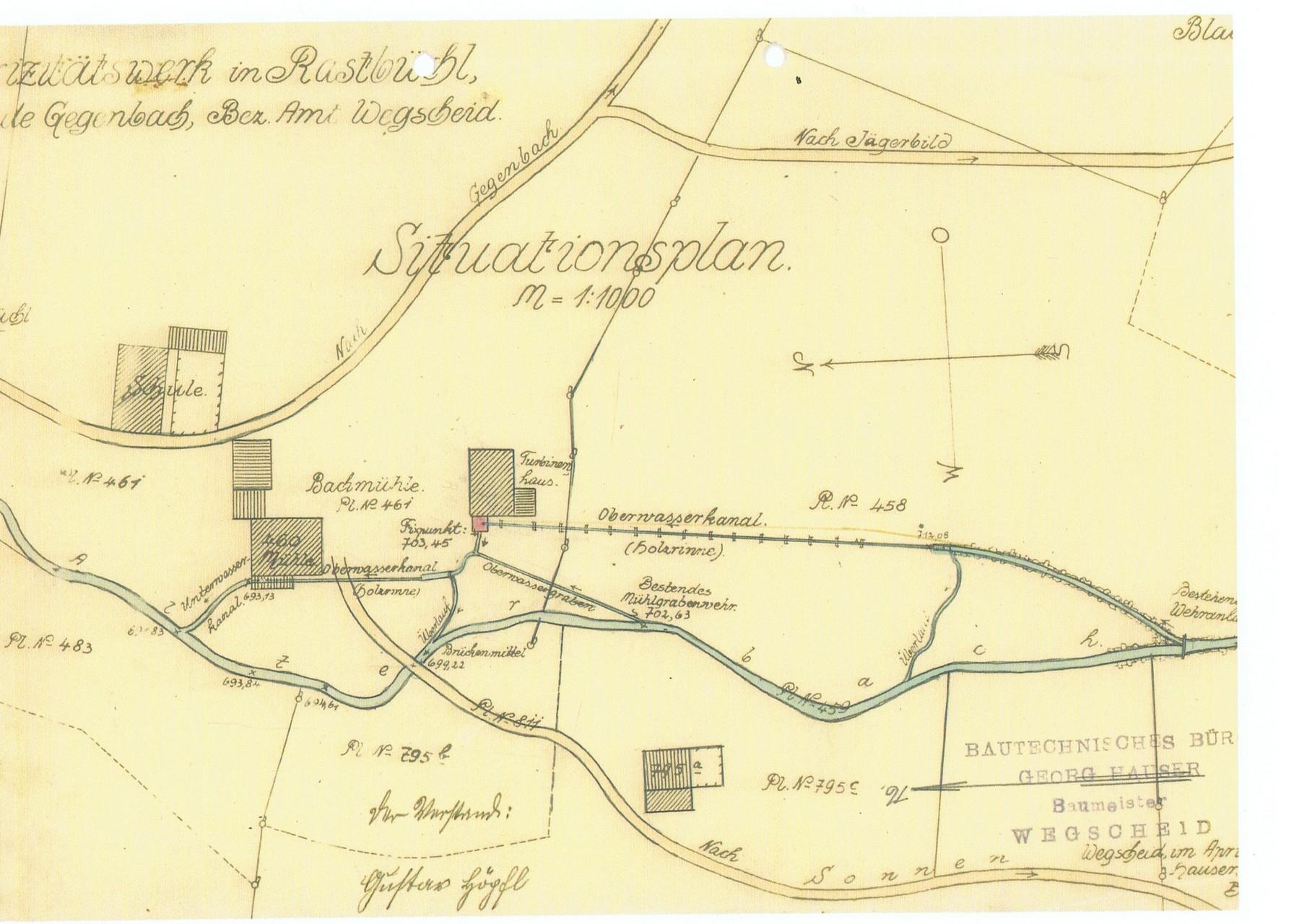 Karte der ursprünglichen Anlage