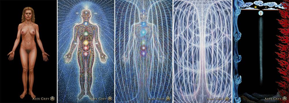 Cuerpo ordinario, cuerpo sutil, cuerpo causal o Dharmakaya, Svabhavikakaya o cuerpo del Testigo Vacio, y Vajrakaya o cuerpo de la conciencia no dual.