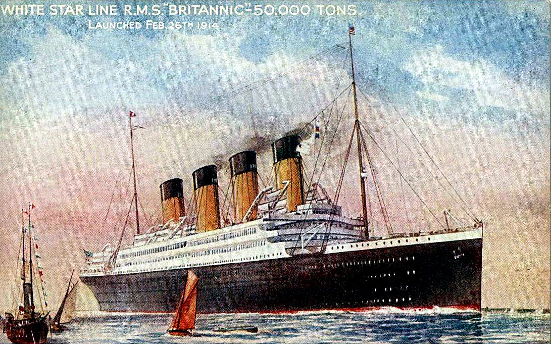 Postkarte der Britannic um 1916 (Foto Wiki public domain)