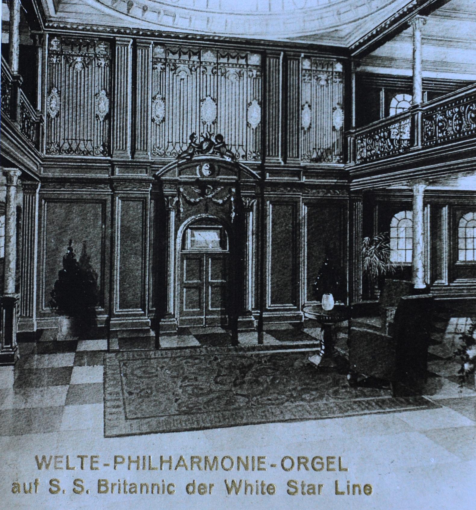 Historische Zeichnung der Britannic-Orgel.