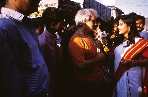 Mumbai 2002, Interview indische TV-Station (Foto Roland Schmid)