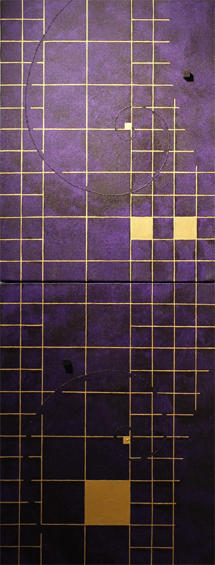 Golden Grid 6 purple  F6×2   318mm×820mm   Acrylic 2012