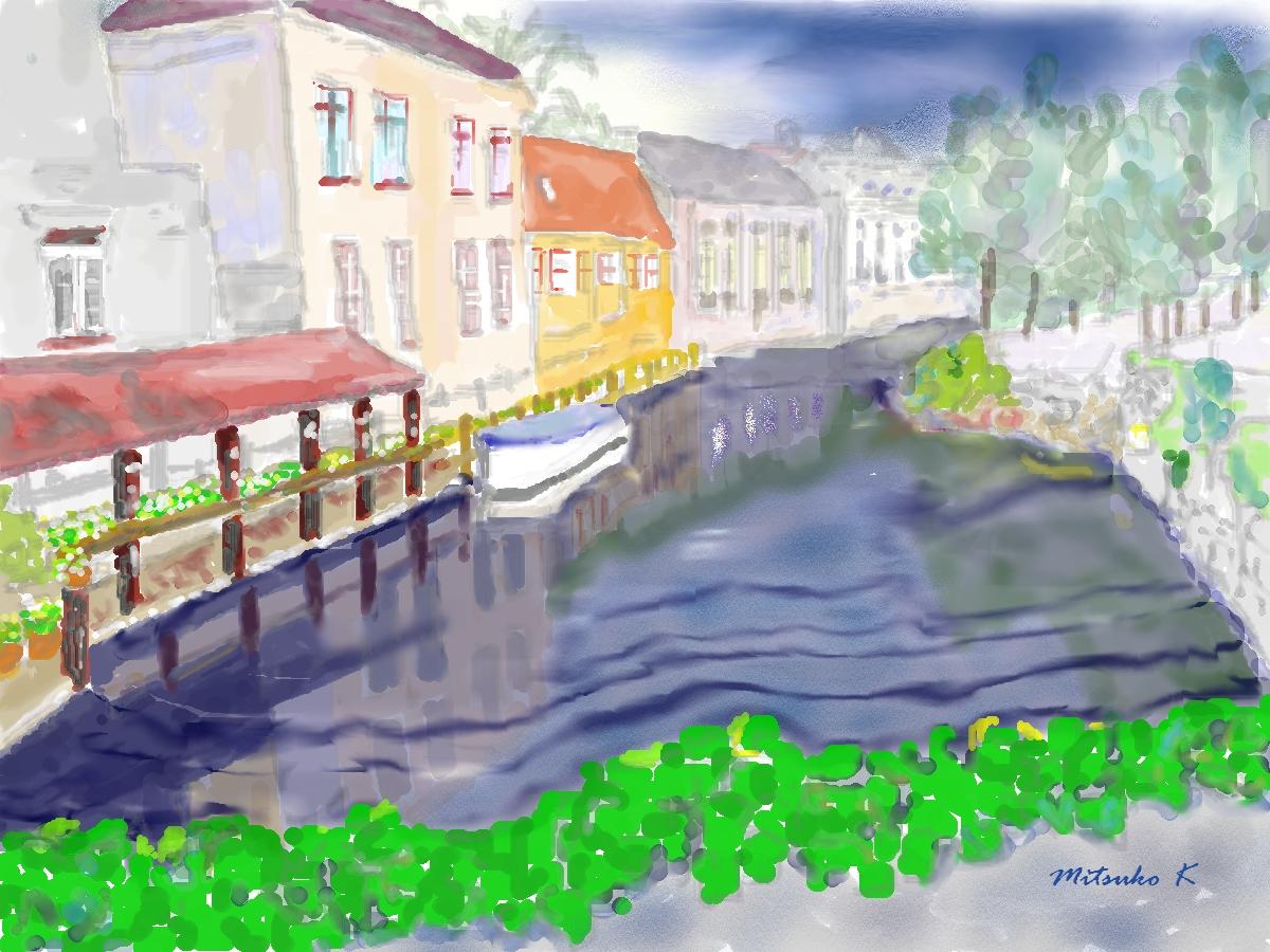 ブルージュ夜の運河