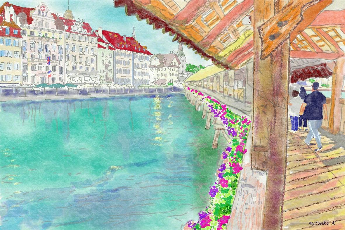 花いっぱいのカペル橋