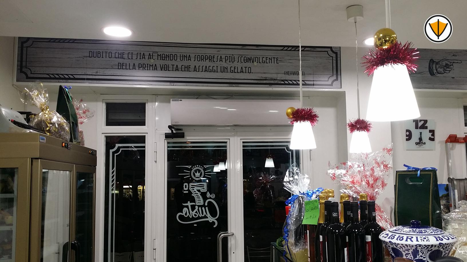 Vetrofanie adesive per il bar 7° Gusto in Roma - Dopo