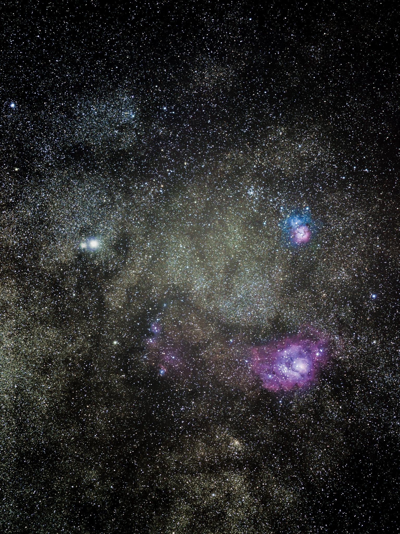 Lagoon and Trifid Nebula