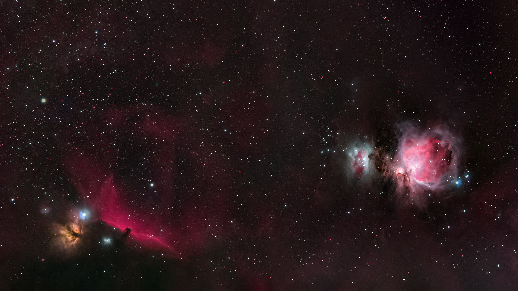 Orion, Horsehead, Flame Nebula