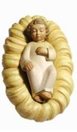 Bild Krippenfigur Mirja Jesukind in Wiege aus Ahornholz geschnitzt