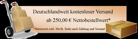 Kostenfreier Versand 250 € netto