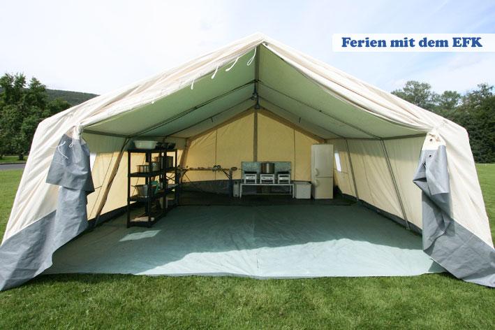 Das geräumige Küchenzelt ist 6,00 m breit x 5,65 m lang