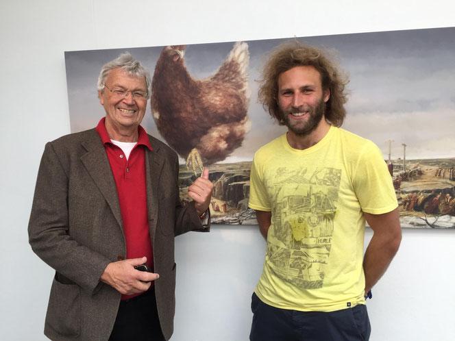 Gerhart Polt und Toninho Dingl zusammen auf der Ausstellung Heimspiel 2017 in der Stadtgalerie Altötting