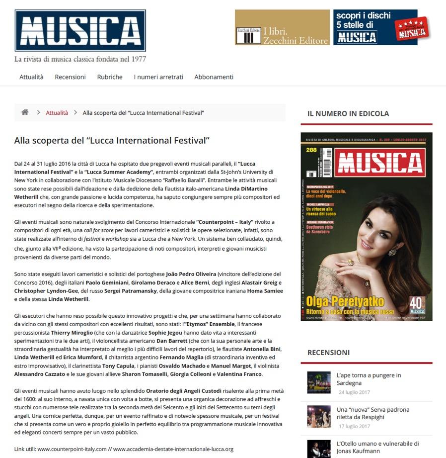 """Rivista """"Musica""""  Agosto 2016"""