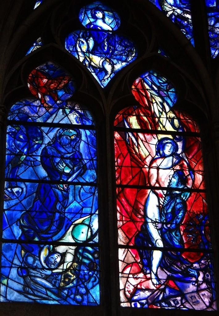 シャガール作品「ヤコブの夢」の左下部: 左「アブラハムの犠牲」 右「天使と格闘するヤコブ」