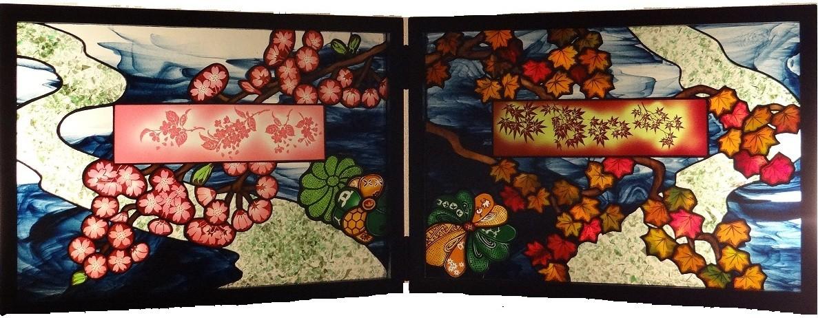 衝立(二幅)「流れに戯れて」(左「春爛漫」、右「紅葉」)