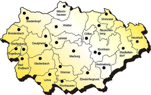 Karte Landkreis Marburg-Biedenkopf