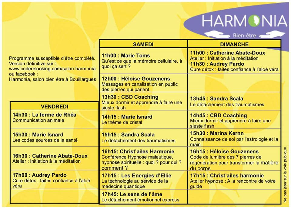 Programme du Salon Harmonia