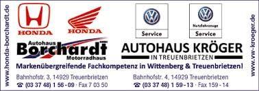 Sponsor 2015 ist das VW-Autohaus Kröger in Treuenbrietzen