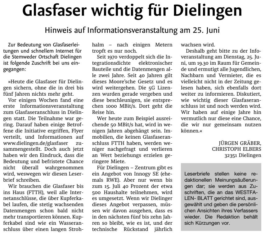 Westfalen-Blatt vom 22.06.2019