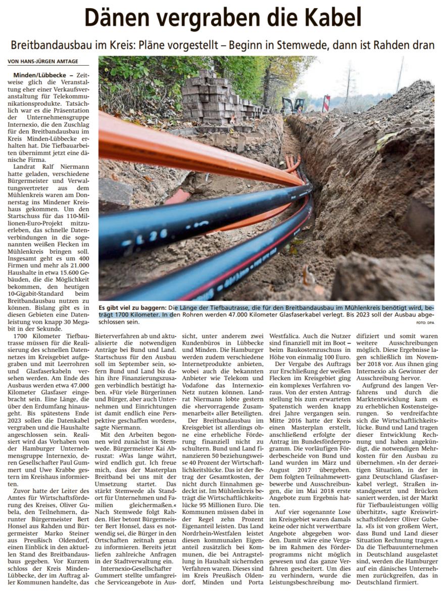 Diepholzer Kreisblatt vom 28.06.2019: Auch im Fördergebiet (Reiningen und Drohne) geht es bald los, Baukostenzuschuss pro Nutzer: 100€