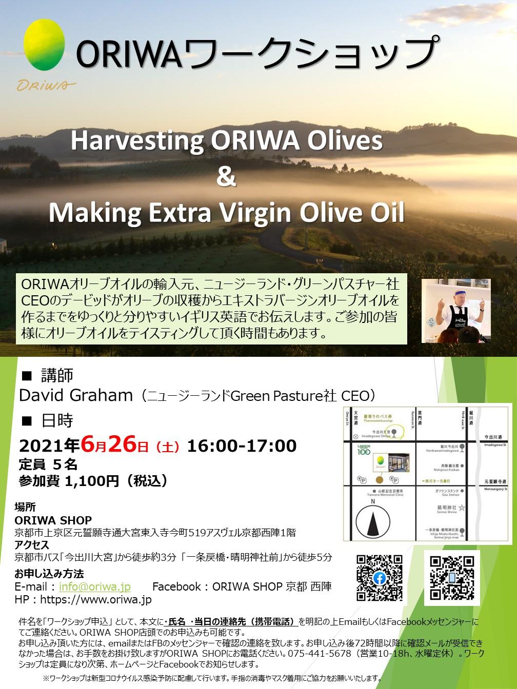 6/26(土)ORIWAワークショップ「Harvesting ORIWA Olives & Making Extra Virgin Olive Oil」開催!